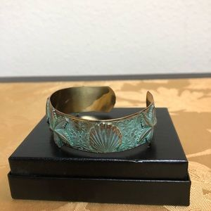Turquoise and Copper Seashell Bracelet